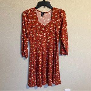 🆕 Rue 21 Fall Floral Burnt Orange Soft Boho Dress